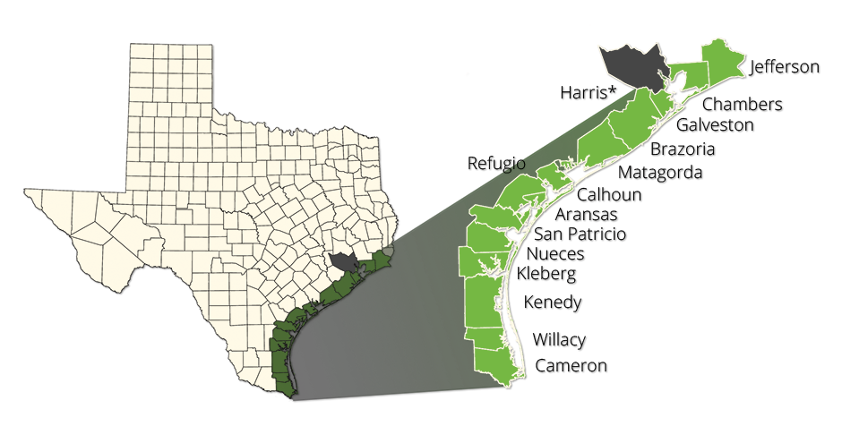 Texas Windstorm Map Designated Catastrophe Areas