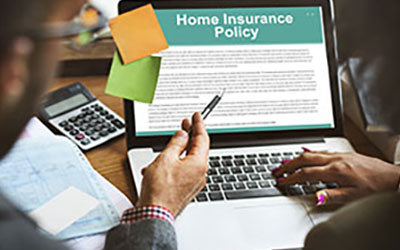Image of people looking at a home insurance policy on a computer
